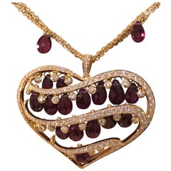 Chopard Copacabana 18 Karat Gold Full Diamond Heart Pendant Necklace Brand New