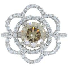 Certified 1.62 Carat Flower Diamond Ring