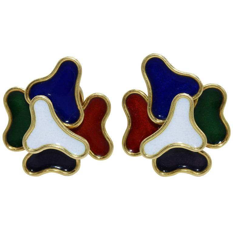 1970s Gold and Multi-Colored Enamel Earclips