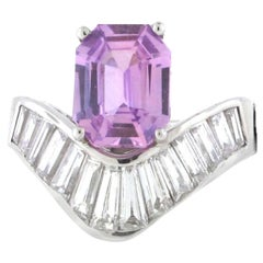 3.13 No Heat Ceylon Purple Sapphire with 18kt White Gold and Dia Mtg. GIA Cert