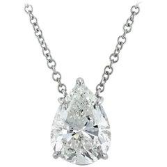 Mark Broumand 5.03 Carat Pear Shaped Diamond Pendant in 18 Karat White Gold