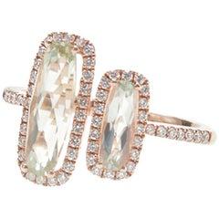 Green Amethyst Double Bar Ring