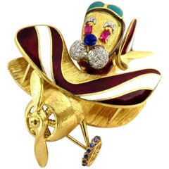 Colossal Dog Aviator Flying Airplane Sapphire Rubies Diamonds Gold Pin Brooch