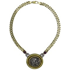 Italian Ancient Roman Coin, Ruby and Diamond Necklace