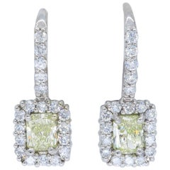 1.06 Carat Yellow Diamond Halo Earrings