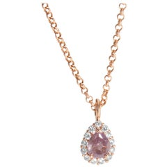 GIA Certified Natural Fancy Purple Pink Diamond Necklace 14kt Gold 1.20 Carats