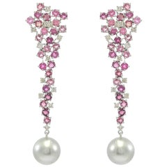 Cascading Tourmaline and Diamond Earrings with Tahitian Pearl