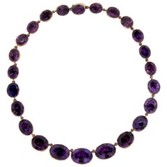 Antique Georgian Amethyst Gold Riviere Necklace