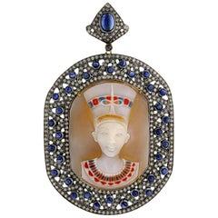 Colored Shell Cameo Pendant with Diamonds and Blue Sapphire