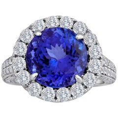 6.49 Carat Tanzanite Round Diamond Halo White Gold Cocktail Fashion Ring