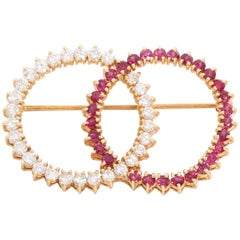 Retro 14 karat Yellow Gold Diamond and Ruby Brooch