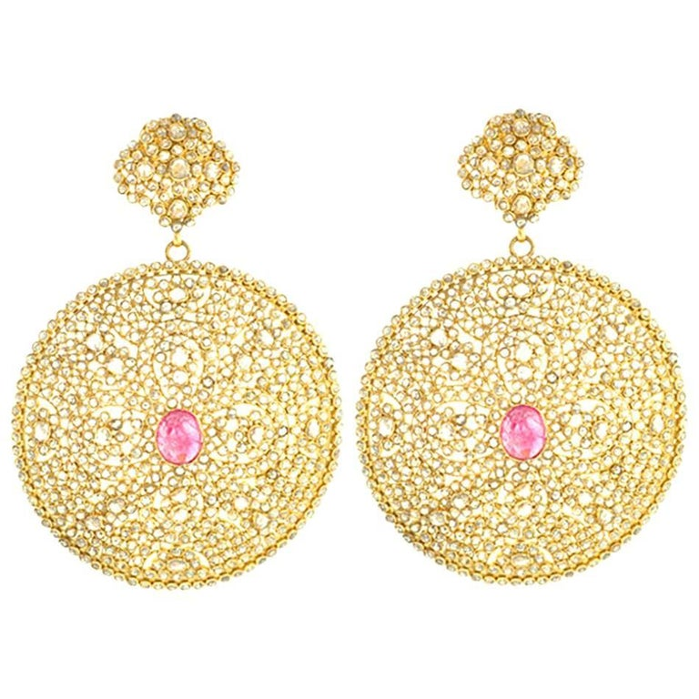 Diamond and Gold Earring with Tourmaline in Centre