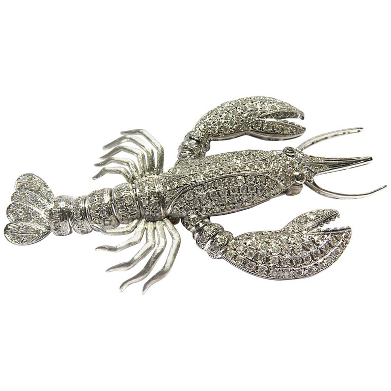 Huge Movable Diamond Lobster White Gold Pin