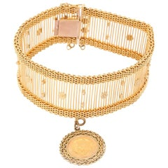 14 Karat Yellow Gold Bracelet with Mexican Peso Charm