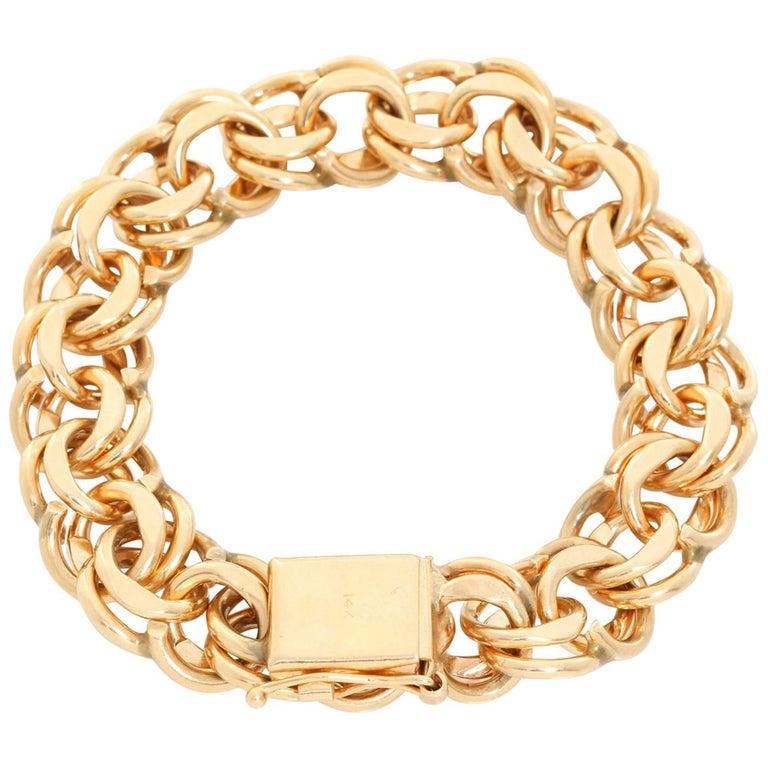 14 Karat Yellow Gold Link Charm Bracelet