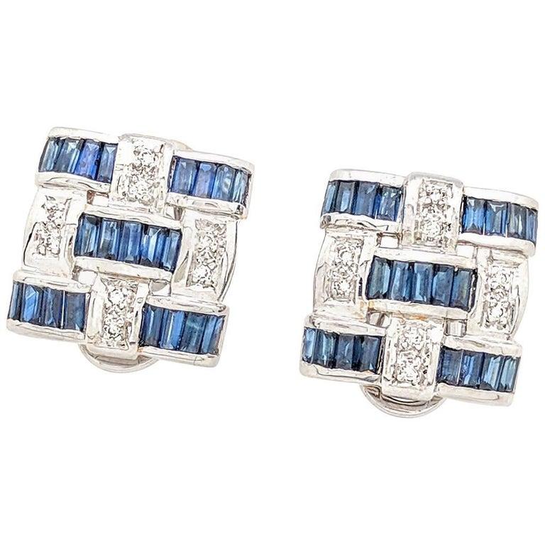 18 Karat White Gold Sapphire and Diamond Earrings Post/Leverback 12.9 Grams