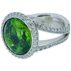 12.05 Carat Peridot Diamond Cocktail Ring