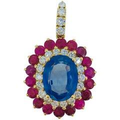 12.14 Carat Ceylon-Sapphire Burma-Rubies Pendant