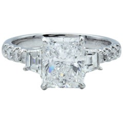 David Rosenberg 2 Carat GIA Radiant D/SI1 18Kt WhiteGold Diamond Engagement Ring