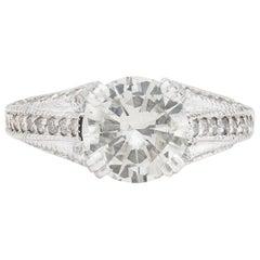 Estate Diamond Ring Featuring Impressive 2.39 Carat Round Diamond