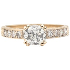 Estate Yellow Gold Ring Featuring 1.07 Carat Old Mine Cut Diamond