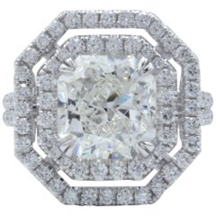 David Rosenberg 3.51 Carat Radiant GIA 18kt White Gold Diamond Engagement Ring