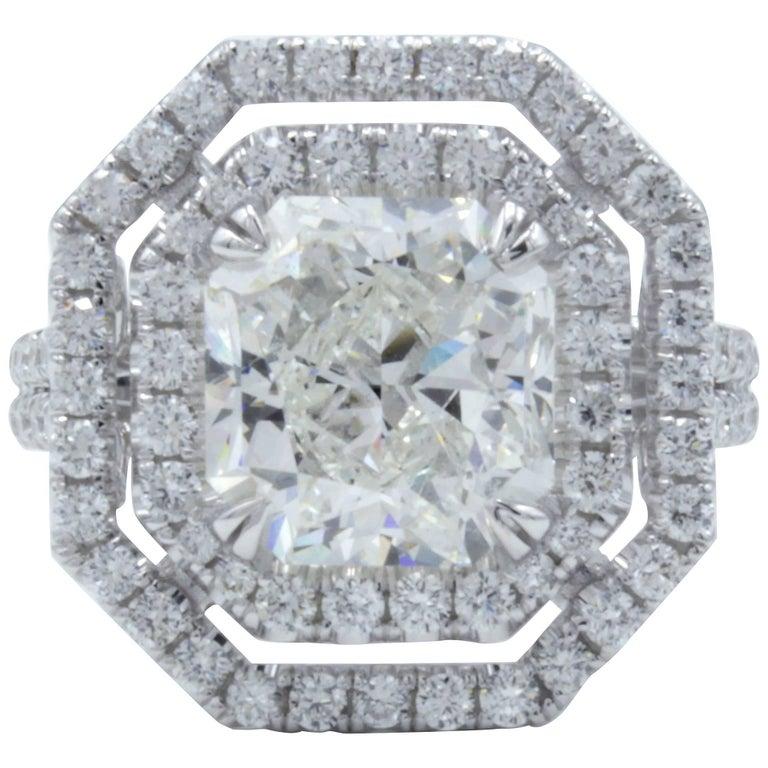 David Rosenberg 3.51 Carat Radiant GIA 18kt White Gold Diamond Engagement Ring
