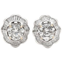 4.75 Carat Estate Diamond and White Gold Earrings