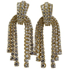 1980 Yellow Gold Diamonds Cascade Pendent Earrings