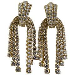1980 Yellow Gold Diamonds Cascade Pendent Earrings