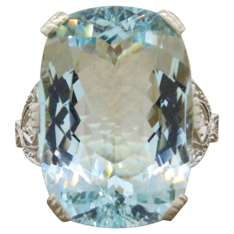 French Aquamarine Diamond Gold Cocktail Ring