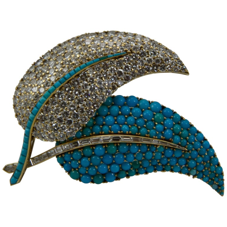 1950 Yellow Gold Diamonds and Turquoise Leaves Brooch