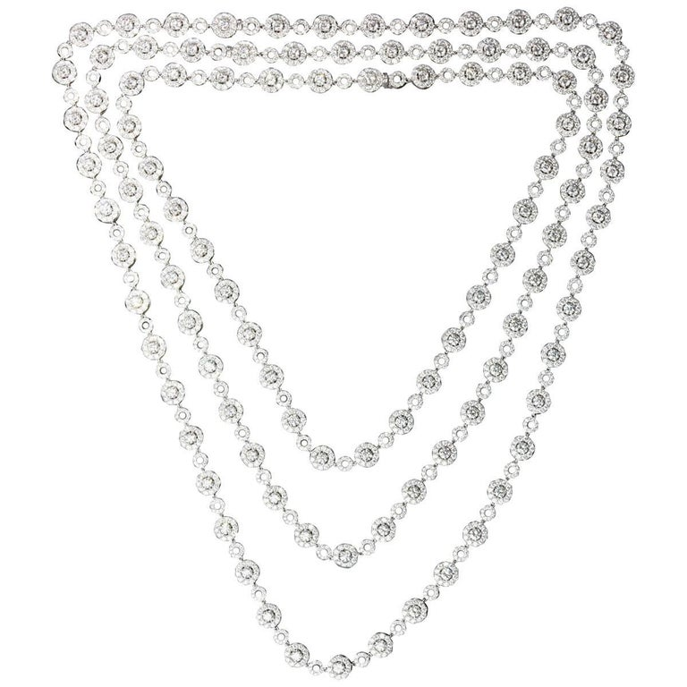 Long Diamond Station Necklace with Halo Diamond Stations, 20.24 Carat
