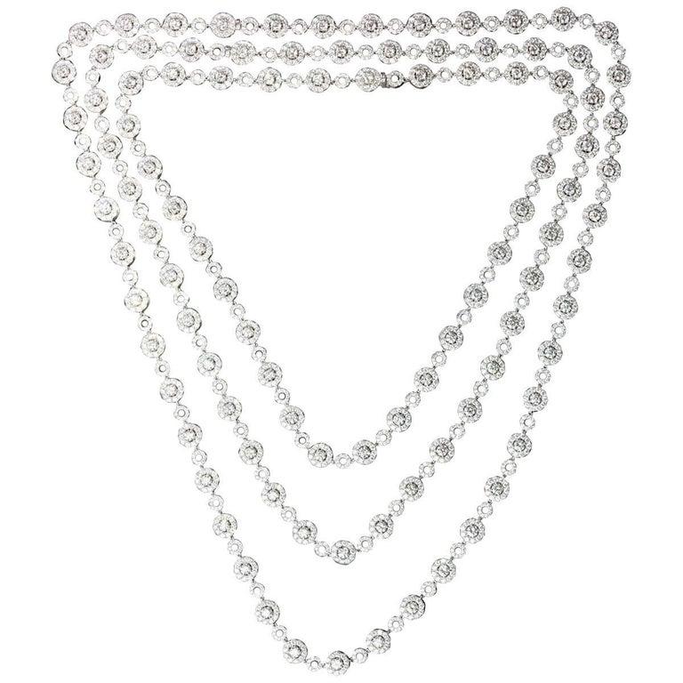 Long Diamond Station Necklace with Halo Diamond Stations, 24.61 Carat