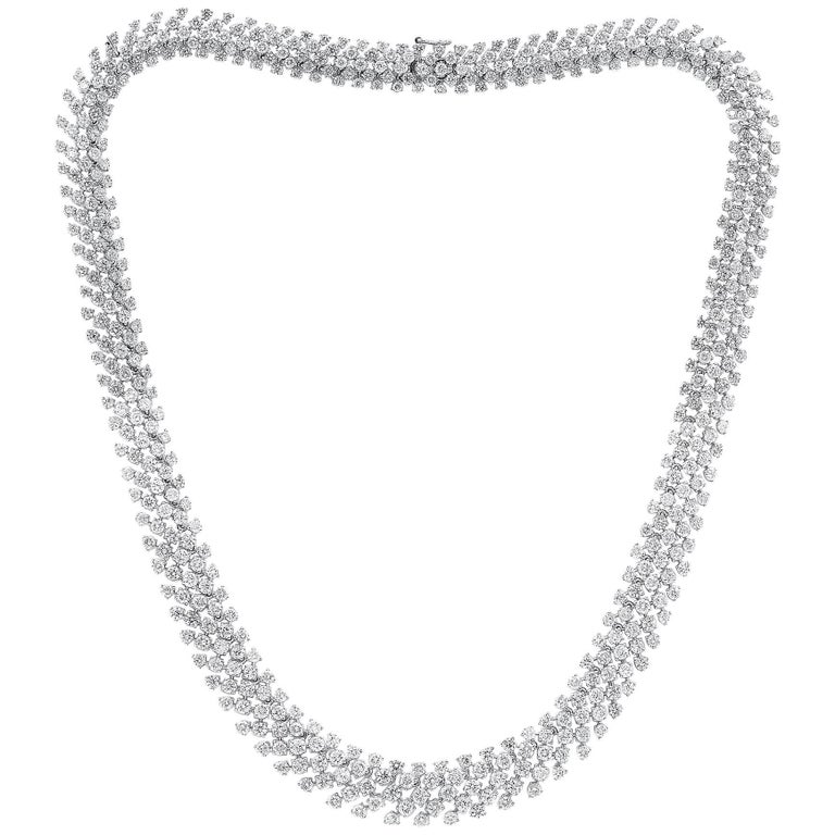 18 Karat White Gold 26.00 Carat Cluster Diamond Necklace