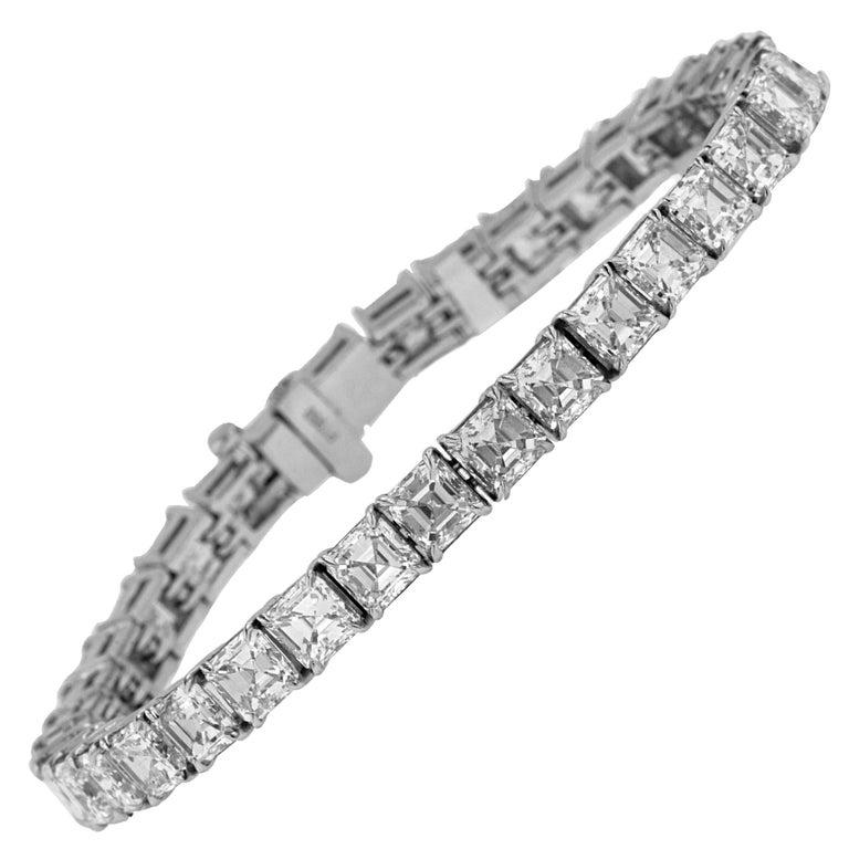 Platinum Asscher 20.00 Carat Diamond VVS Tennis Bracelet
