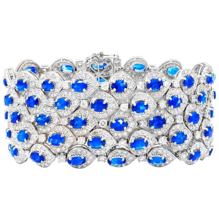 Ceylon Sapphire and Diamond Bracelet