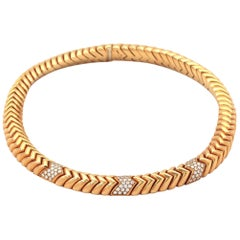 Bvlgari Spiga 4.05 Carat Diamond Gold Snake Choker Necklace