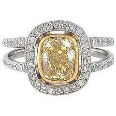 1.42 Carat Fancy Intense Yellow Cushion Diamond Ring, GIA Certificate