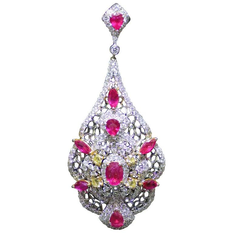 Art Deco Ruby and Yellow Diamond Chandelier Earrings, 7.26 Carat Ruby