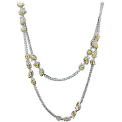 Diamond Riviera Necklace with Yellow Diamond Stations
