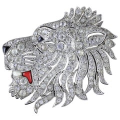 Antique French Lion Brooch Silver Onyx Paste, circa 1860