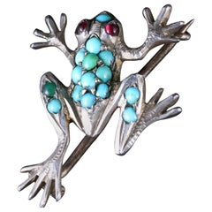 Antique Victorian Turquoise Silver Frog Brooch, circa 1900