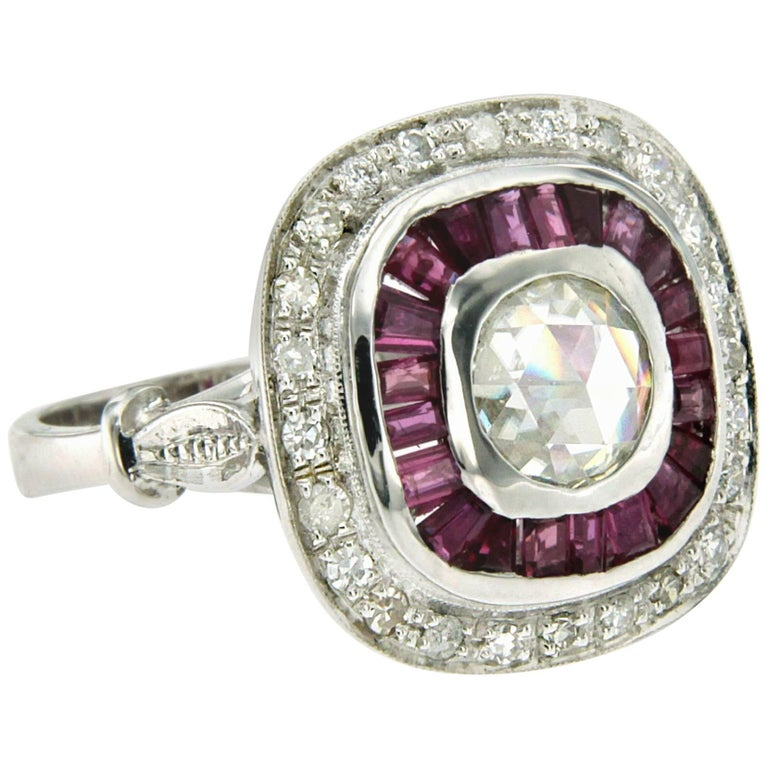0.86 Carat Old Mine Cut Diamond Ruby Engagement Gold Ring