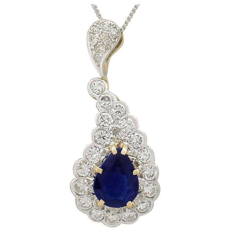 1980s Antique French Sapphire and Diamond Yellow Gold Pendant