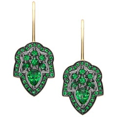 Ana de Costa Yellow Gold Green Tsavorite Pear Round Drop Earrings