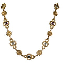 Antique Victorian Necklace 18 Carat Gold Pinchbeck Agate Quartz, circa 1830