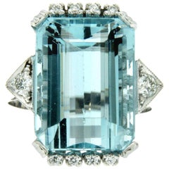 11.70 Carat Aquamarine Diamond Gold Ring
