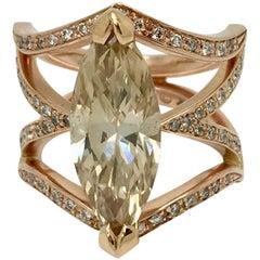 Rose Gold 14 Karat Marquise Diamond 3.23 Carat