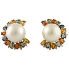 Multicolors Sapphires Diamonds and Australian Pearls Yellow Gold Earrings